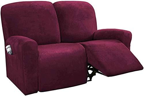 zyl 6 Pezzi Fodera reclinabile per 2 posti in Velluto Elasticizzato Fodera reclinabile Morbida Fodera per Sedia reclinabile Lavabile Proteggi Divano coprisedile applicabile reclinabile Divano-VI