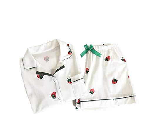 FJLOKE& SummerWomenPajamas Strawberry PrintingShort Sleeve Turn-Down Collar Elastic WaistShorts GirlsHome Lovely Two Piece White L