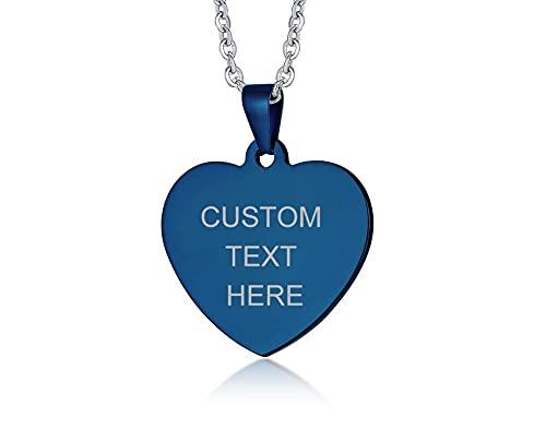 AMOZ Collar para mujer con colgante de corazón grabado con foto para el día de San Valentín, día de la madre, cumpleaños o para recordar a los seres queridos perdidos, grabado de doble cara, azul