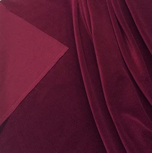 Vino Color terciopelo – precortado (empaquetado por separado) pieza de algodón de terciopelo para vestir – 23 colores disponibles (vino)
