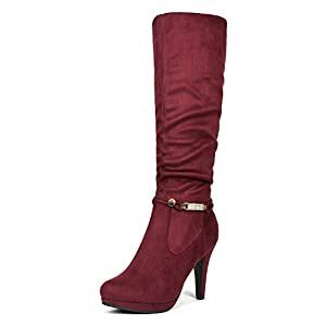 DREAM PAIRS Sarah Women's Platform High Heels Fashion Boots