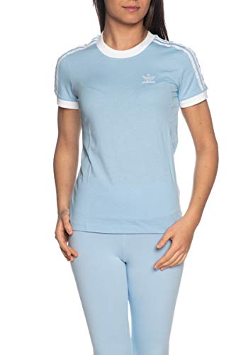 Adidas 3 Str Tee T-Shirt, Mujer, clear sky/white, 38