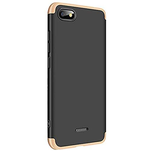 Croazhi Funda Compatible con Xiaomi Redmi 6A/ Redmi 6, Carcasa para Redmi 6A/ Redmi 6 Cover Case PC Protector Silicona Libro Gel Ultra-Fina-Slim 360 Transparente Antigolpes (Schwarz + Gold, Redmi 6A)