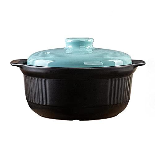 Olla barro refractario Cazuela de terracota Pot Casserole Casserole Clay Pot Clay Clay Pot Caja de cocina Llama abierta,cubierta,conservación de calor y almacenamiento de calor.-A_capacidad 3200ml