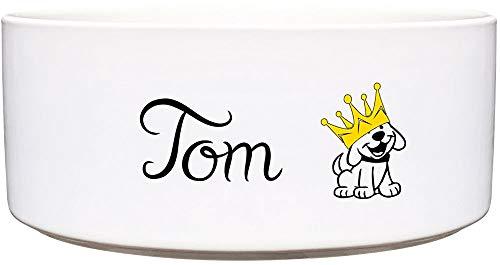 Cadouri Keramik Hundenapf ︎ personalisiert ︎ mit Name deines Hundes┊Futternapf Wassernapf (Hund mit Krone) - 1.300 ml