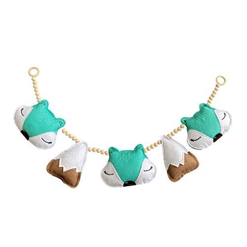 QYIYA Nordic Wooden Beads Garlands with Felt Animal Pendant Baby Wall Decor Hanging