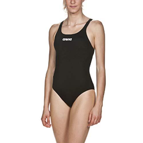 Arena Damen Sport Badeanzug Solid Swim Pro Badeanzug Sport Badeanzug Solid Swim Pro, Black-White (55), 46 (Herstellergröße: 48)
