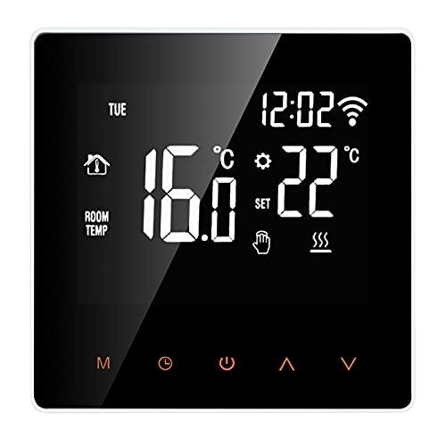 Termostato,Funien Termostato inteligente Wi-Fi Controlador de temperatura digital Control de aplicación Pantalla LCD Pantalla táctil Semana Termostato eléctrico programable para calefacción por suelo