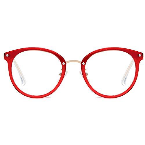 SOJOS Rund Groß Brille mit Blaulichtfilter ohne Sehstärke Anti-Blaulicht Gläser Brille SJ9001 Ashley mit Rotem Rahmen/Anti-Blau-Lichtlinse