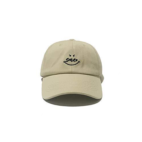 geiqianjiumai Nueva Carta Simple Bordado Smiley Personalidad Salvaje Gorra de béisbol Moda Casual Protector Solar Gorra Beige Ajustable