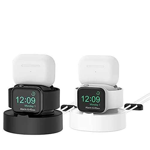 PLUSACC 호환 애플 시계와 충전기-위탁 선창 홀더를 위한 시리즈에 확인할 수 있게 되었습니다.SE | 6 | 5 | 4 | 3 | 2 | 1 &AIRPODS1 | 2 | 프로(+검정 흰색)
