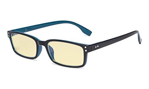 Eyekepper Blaulichtblockierung Brille mit gelber Filterglas - Computerbrille Damen Herren - Schwarz Blau +1.75