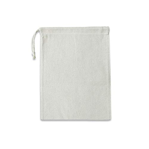 Ezek Reusable Cotton Linen Produce Bags, 4 Pack 11.5 by 9 inch Storage & Organizing Drawstring Sacks for Grocery, Vegetable, Gadget, Gift, Laundry, Shopping, Travel & Outdoor Activities, Natural.