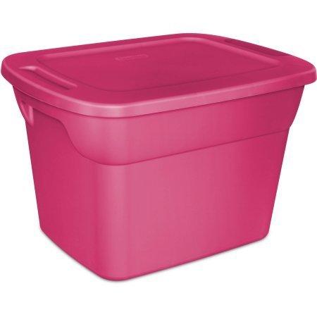 Case of 8 Sterilite 18 Gallon Tote Box In Fuchsia Burst