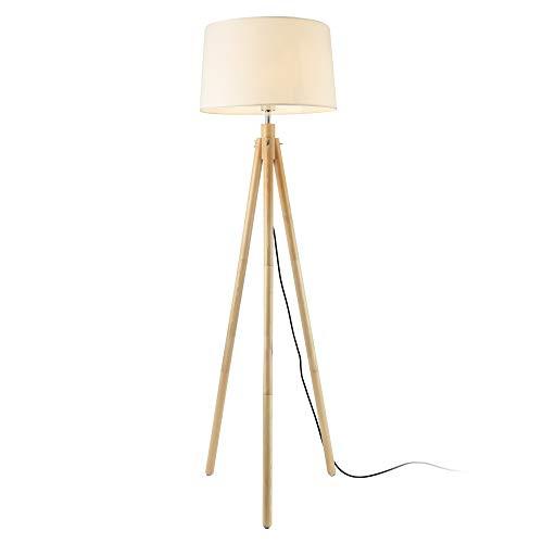 lux.pro Stehleuchte 'Tomar' 153cm 1xE27 max. 60W Tripod Stehlampe Dreifuß Standleuchte Stand Lampe Metall Holz Weiß Lampenschirm Design