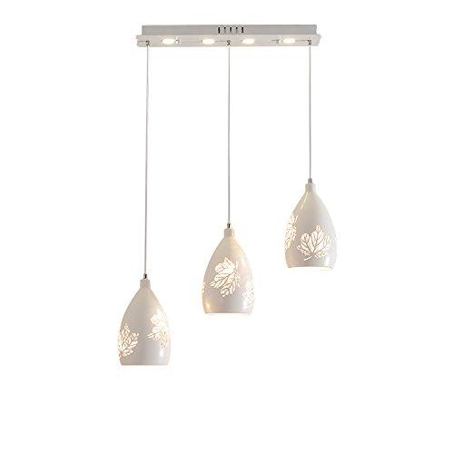 Plafonnier suspendu à 3 lumières en fer blanc en métal Feuille d'érable en feuille d'érable abat-jour Lustre d'art pour l'îlot de cuisine de bar Salon Plafonnier d'appartement (Taille : Style B)