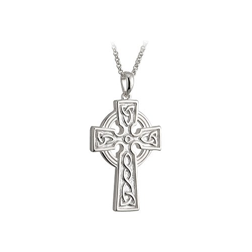 Solvar Men's Celtic Cross Necklace Sterling Silver 2 Sided 20 Inches Chain Irish Made