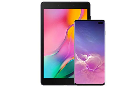 Samsung Galaxy S10+Factory Unlocked Android Cell Phone, US Version, 1TB of Storage, Ceramic Black with Tab A 8.0' 32 GB WiFi Android 9.0 Pie Tablet Black (2019)