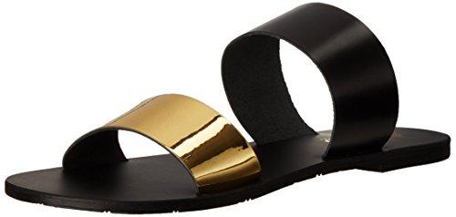 Nomad Damen Flache Sandale, goldfarben/schwarz, 36 EU
