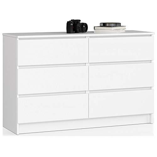 ADGO K120 - Comò moderno con 6 cassetti, 120 x 40 x 77 cm (L x P x A), per camera da...