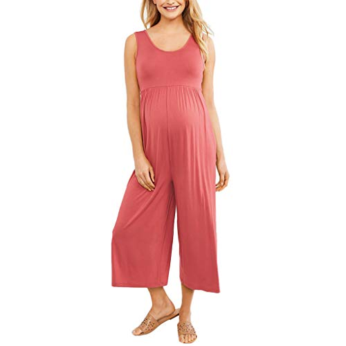 Women's Maternity Jumpsuit Romper Solid Mother Nursing Breastfeeding Pregnants for Summer Daily Vacation Pink