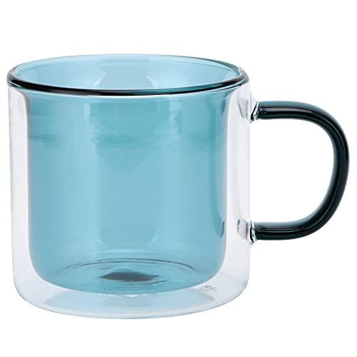 Taza de café de Cristal, Taza de Cristal del Aspecto Exquisito para la Bebida para el café para el Vino para el Agua(Lake Green)