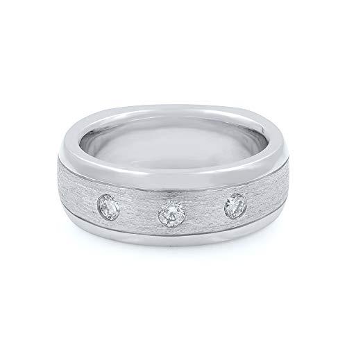Oro bianco 14K & 0.28Cttw Diamonds da uomo wedding Band size 9