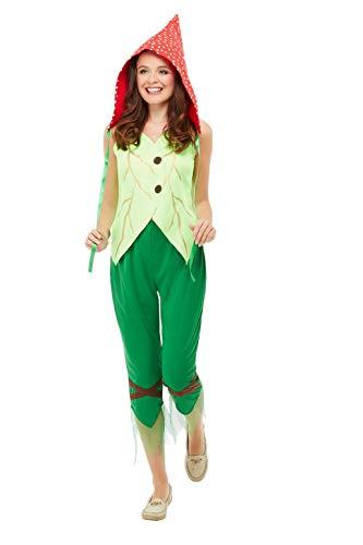 Smiffys 47776M Fliegenpilz-Kostüm, Damen, Grün und Rot, M – Größe 40-42