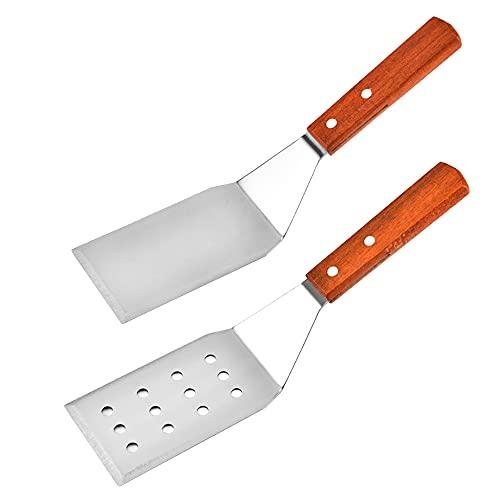 CTGVH 2 spatole in acciaio inox per barbecue piatto grigliato hanno robuste spatole forate e solide con manico in legno, set di spatole flessibili perfette per padelle in ghisa