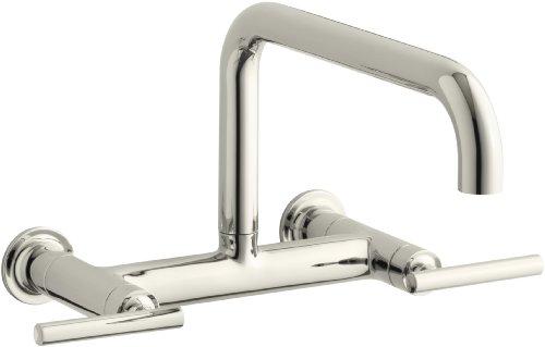 KOHLER K-7549-4-SN Purist Wall-Mount Bridge Faucet, Vibrant Polished Nickel