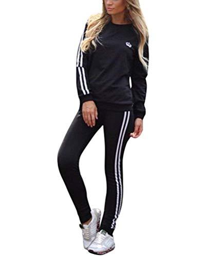 Yueyue Tuta Sportiva da Donna Tuta Sportiva 2 Pezzi/Set Lunga Pullover Casual Tops + Fitness Pantaloni Slim Fit per l'autunno Primaverile Invernale (Nero, m)