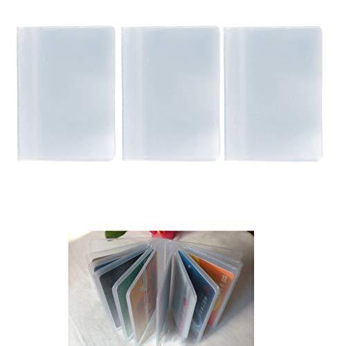 Chiic 1piezas funda de tarjeta de plástico tarjetero de 10páginas 10marcos o 10páginas para 20o 10páginas 20ranuras para mujer hombre, transparente, color transparente 1#