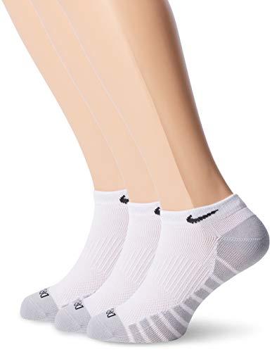 Nike Dry Lightweight SX6940-100 Calcetines Unisexo para Adultos, con Dri-Fit Tecnologia, 3 Pares, Blanco/Lobo Gris/Negro, 34-38