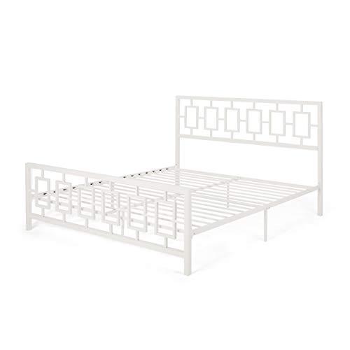 Great Deal Furniture Dawn Modern Iron King Bed Frame, White