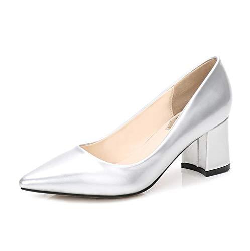 ZFAFA Damen Pumps High Heels Dicker Absatz Schuhe mit mittlerer Ferse Party Hochzeit Schuhe Tanzschuhe Brautschuhe, Silver
