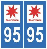 Autocollant plaque immatriculation auto département 95 Val d'Oise