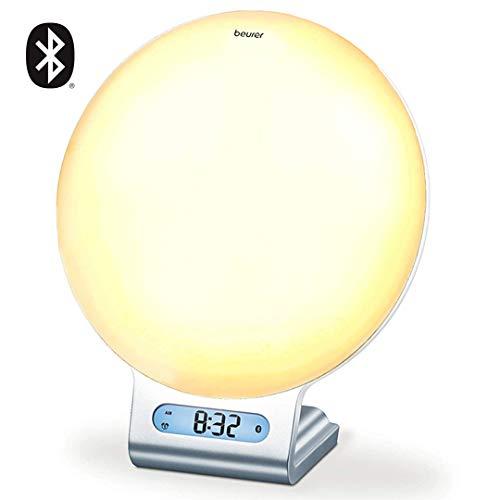 Beurer 4-in-1 Bluetooth Wake-Up Light, Daylight Sunrise Simulation & Sunset Fading, Alarm Clock, Reading Lamp, Mood Light, Speaker, Radio, 256 Customized Color Variations for Sleep, Lightup App, WL75