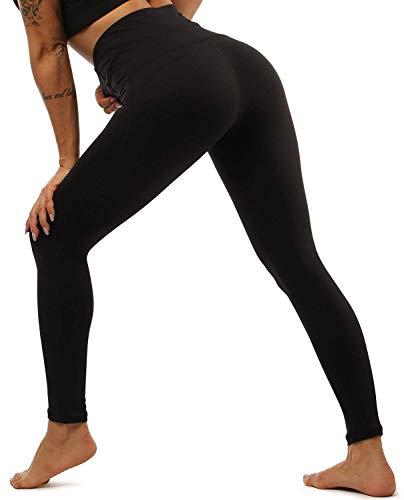 Yavero Sporthose Damen High Waist Blinkdicht Sport Leggings Elastische Tummy Control Yogahose Lange Laufhose mit Taschen,Stil: Schwarz S
