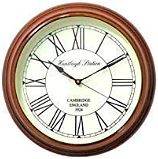 Time Instruments Wooden Antique| Wall Big clock (16 Inch, Natural finish)