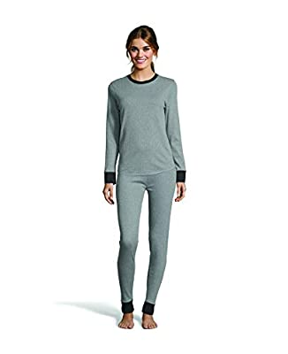 Hanes Women's Color Fusion 2-Ply Crew Neck Thermal Baselayer Tagless Long Sleeve T-Shirt Grey Combo