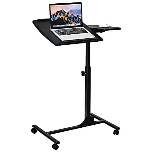 COSTWAY Laptoptisch Notebooktisch Pflegetisch Rolltisch Betttisch Sofatisch, auf Rollen, höhenverstellbar und neigungsverstellbar, 95x64x45cm (Schwarz)