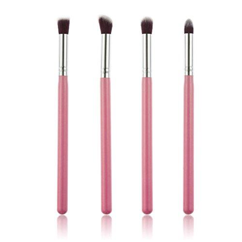 4pcs Eye Brushes Set Eyeshadow Blending Brush Cosmetic Makeup Brush Set(Pink+Silver)