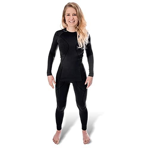 Black Snake® sous-vêtements Thermiques pour Femmes sans Coutures | Ensemble sous-vêtements Fonctionnels | Set Maillot et Pantalon Thermiques - S/M - Noir