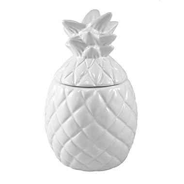 Tropical Pineapple Decorative Ceramic Jar with Lid