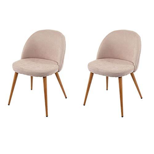 2X Chaise de Salle à Manger HWC-D53, Fauteuil, Style rétro années 50, en Tissu - Beige