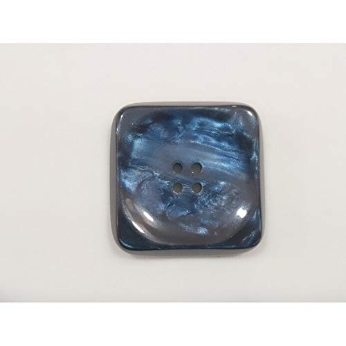 Button Mother-of-Pearl Square Concave 4 Gaten Mis. 70 Blu