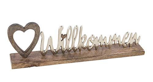 Posiwio dekorativer Schriftzug WILLKOMMEN aus Holz und silberfarbigem Aluminium