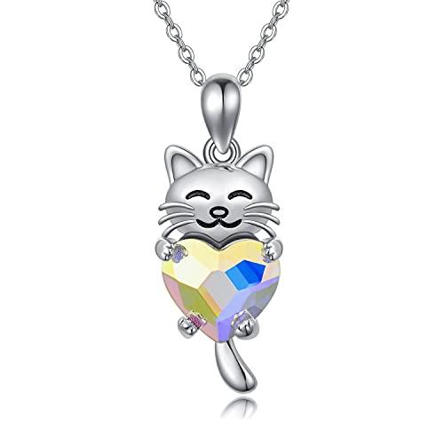 Katze Kette Kinder Silber 925 Anhänger Katze Schmuck Kristall Halskette Katzen Geschenke für Mädchen Damen Frauen