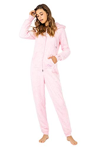 Eight2Nine Damen Jumpsuit Overall aus Teddy Fleece mit Ohren Rose L/XL