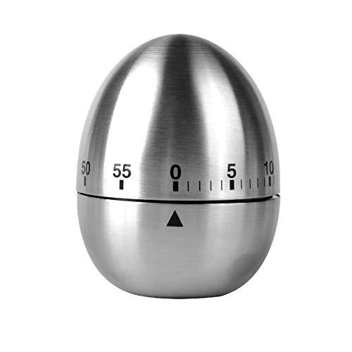 Jayron KT003 - Timer da cucina in acciaio inox, a forma di uovo, con allarme meccanico rotante, 60 minuti, conto alla rovescia